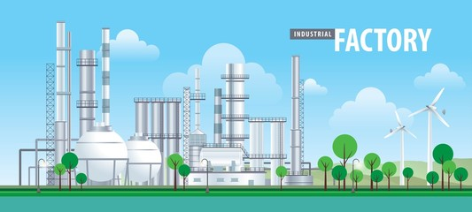 Fotomurales - Vector factory icons set, Factory, power plants and industrial buildings
