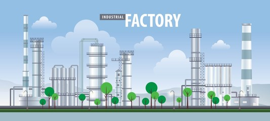 Fototapete - Vector factory icons set, Factory, power plants and industrial buildings