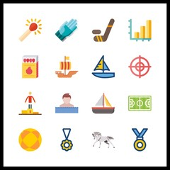 16 competition icon. Vector illustration competition set. sailboat and horse icons for competition works