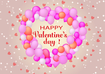 Happy Valentine's Day illustration. Banner with lettering. Conceptual image a lot balloons of heart shaped a hearts background design holiday