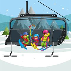 Happy cartoon kids riding in ski lift