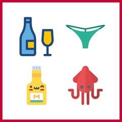 4 taste icon. Vector illustration taste set. thong and squid icons for taste works