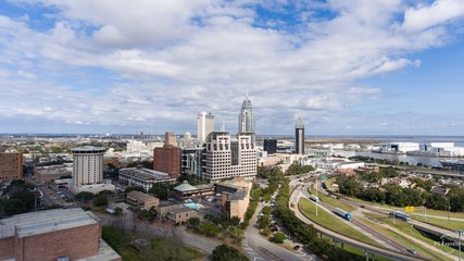 Aerial view of downtown Mobile, Alabama in January 2019