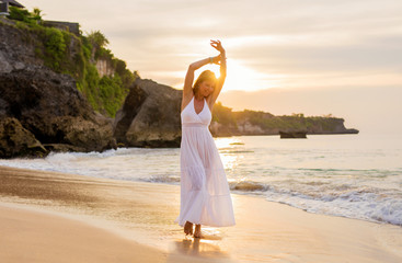 Carefree woman enjoying financial freedom