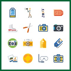 16 hobby icon. Vector illustration hobby set. tags and ball icons for hobby works