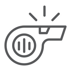 Whistle line icon, sport and equipment, blower sign, vector graphics, a linear pattern on a white background.
