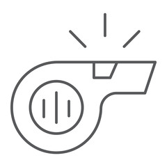 Whistle thin line icon, sport and equipment, blower sign, vector graphics, a linear pattern on a white background.