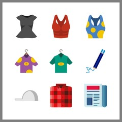 9 print icon. Vector illustration print set. tank top and newspaper icons for print works