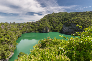 Aerial nature landscape of Thale Nai or Blue Lagoon. Emerald Lake of volcano at Koh Mae Ko island viewpoint in Mu Ko Ang Thong National Park, Surat Thani, Thailan
