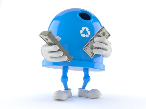 Recycling bin character counting money on white background