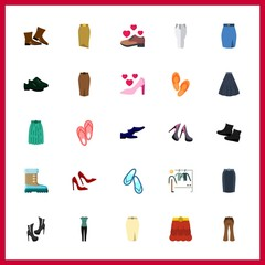 25 shoes icon. Vector illustration shoes set. high heel and sport shoes icons for shoes works