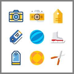 9 hobby icon. Vector illustration hobby set. tag and ice skate icons for hobby works