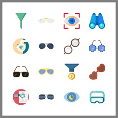 16 vision icon. Vector illustration vision set. binoculars and observation icons for vision works