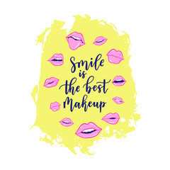 Girls beauty, makeup, cosmetic fashion print Vector pink color doodle lips patches in pop art 80s-90s style. Woman's sexy emotions mouth.