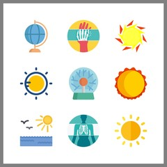 9 ray icon. Vector illustration ray set. sun and x ray icons for ray works