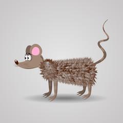 Cute Funny Cartoon Fluffy Rat vector illustration