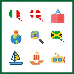 9 boat icon. Vector illustration boat set. sailing boat and submarine icons for boat works