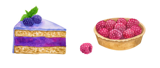 Purple cake with blackberry and icing. Cake with raspberries. Hand drawn watercolor illustration. Isolated on white background.
