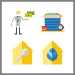4 estate icon. Vector illustration estate set. real estate and garage icons for estate works