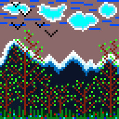 pixels mountain and forest illustration