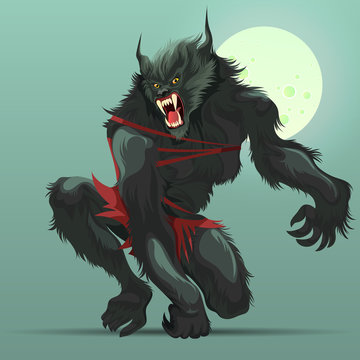 Angry werewolf monster turning under full moon poster
