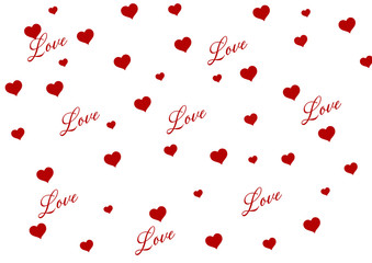 illustration drawing of heart filled with the word love in different letters red and White