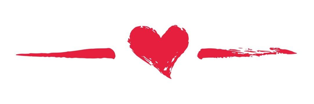 Grunge hand painted Valentine's Day heart divider