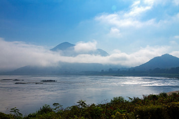 Natural morning and mist in winter of Mekong River