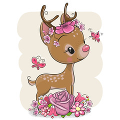 Cartoon Deer with flowerson a white background