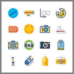 16 hobby icon. Vector illustration hobby set. zeppelin and ice skate icons for hobby works