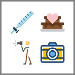 4 shot icon. Vector illustration shot set. photograph and syringe icons for shot works