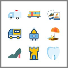 9 city icon. Vector illustration city set. high heels and photography icons for city works