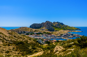 """The """"Goudes"""" port view from the Calanques National Park of Marseilles, France"""