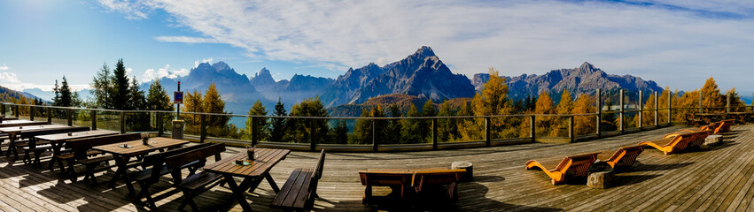 Panoramic view of Helm Restaurant in Dolomites Mountains South Tyrol