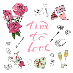 Composition of Valentine's Day theme doodle elements, roses, lettering and different objects. Hand drawn and colored sketches.