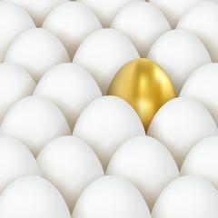 3d golden and white eggs. Eggs concept. Golden Egg Among White Eggs