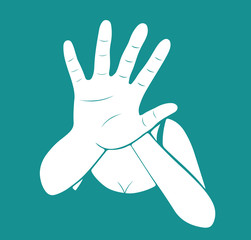 Woman stretching out hand for self-defense. Creative vector for stop violence against women design illustration.
