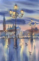 Venetian night lights watercolor landscape. Early morning colors