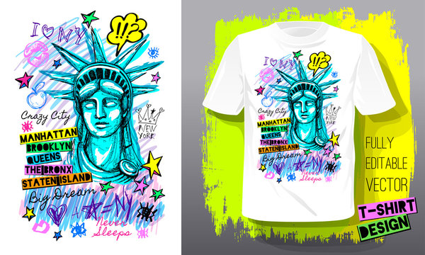 New York, city, american liberty, freedom, monument. Trendy t-shirt template, fashion t shirt design, bright summer, cool slogan lettering. Color pencil, marker ink, pen doodles sketch style