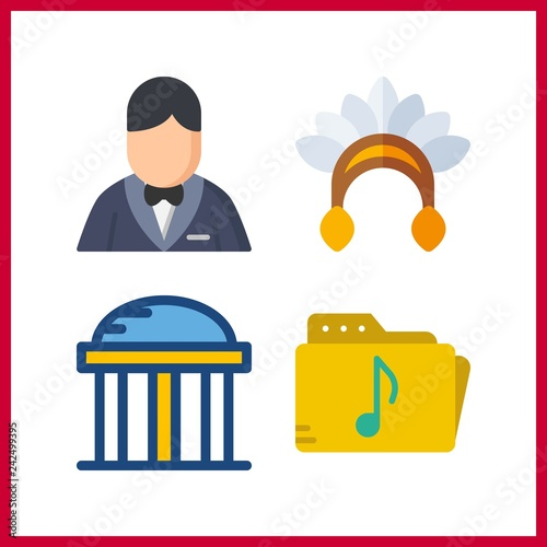 4 indian icon  Vector illustration indian set  music folder and