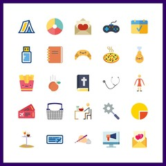 25 table icon. Vector illustration table set. write and stethoscope icons for table works