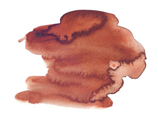 Deep brown brush strokes painted in watercolor on clean white background