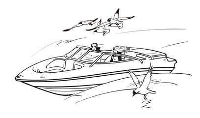 Young couple man and woman, driving speed motor boat among flying seagulls. Boy and girl on summer vacation. Sketch style hand drawn vector illustration.