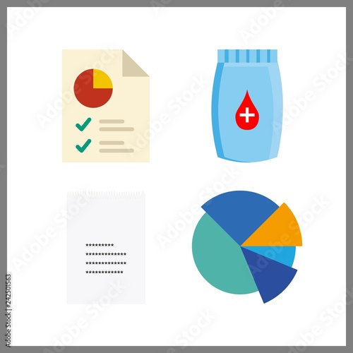 4 Budget Icon Vector Illustration Budget Set Receipt And Pie Chart