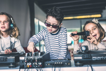 Young DJs make a party at home with vinyl records