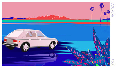 tropical lake and vintage car, 80's - 90's style poster illustration