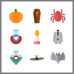9 halloween icon. Vector illustration halloween set. grey costume and pumpkin icons for halloween works