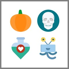 4 spooky icon. Vector illustration spooky set. pumpkin and potion icons for spooky works