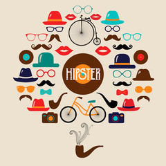 Hipster Colorful Retro Vintage Vector Icon Set. Illustrations of hats, glasses, lips and moustaches.