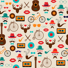 Hipster Colorful Retro Vintage Vector Seamless Pattern. Illustrations of hats, glasses, lips and moustaches.
